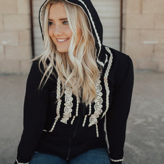 Boho Zip Up Hoodie | black