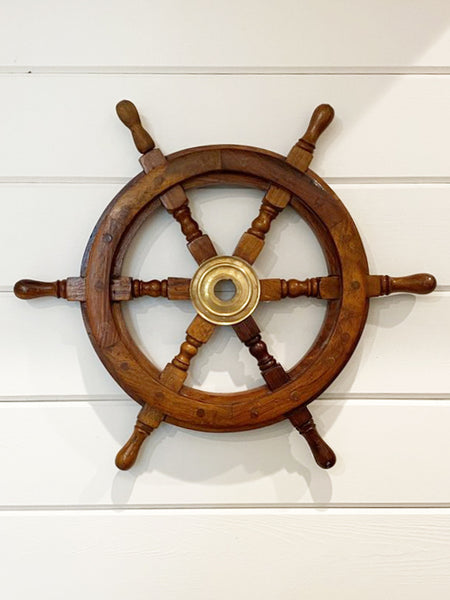 Wood Brass Ships Wheel