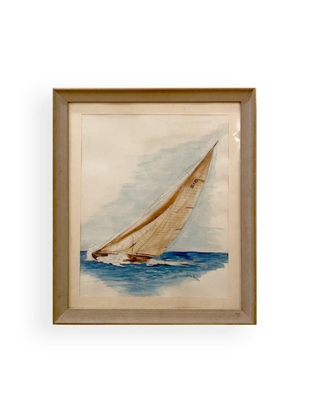 Framed Sailboat Watercolor Painting