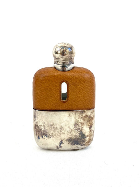 Pocket Flask Silver Plate with pig skin (C. 1930's)