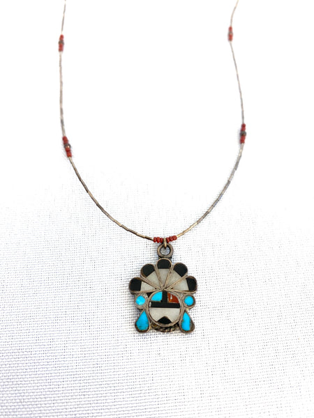 Native American Vintage Silver Flower Necklace