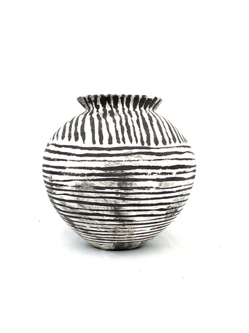 Black & White Striped Vase