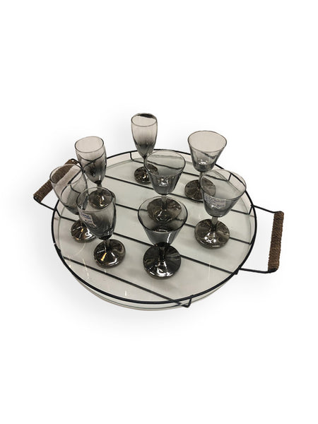 Vintage Glasses Set & Tray