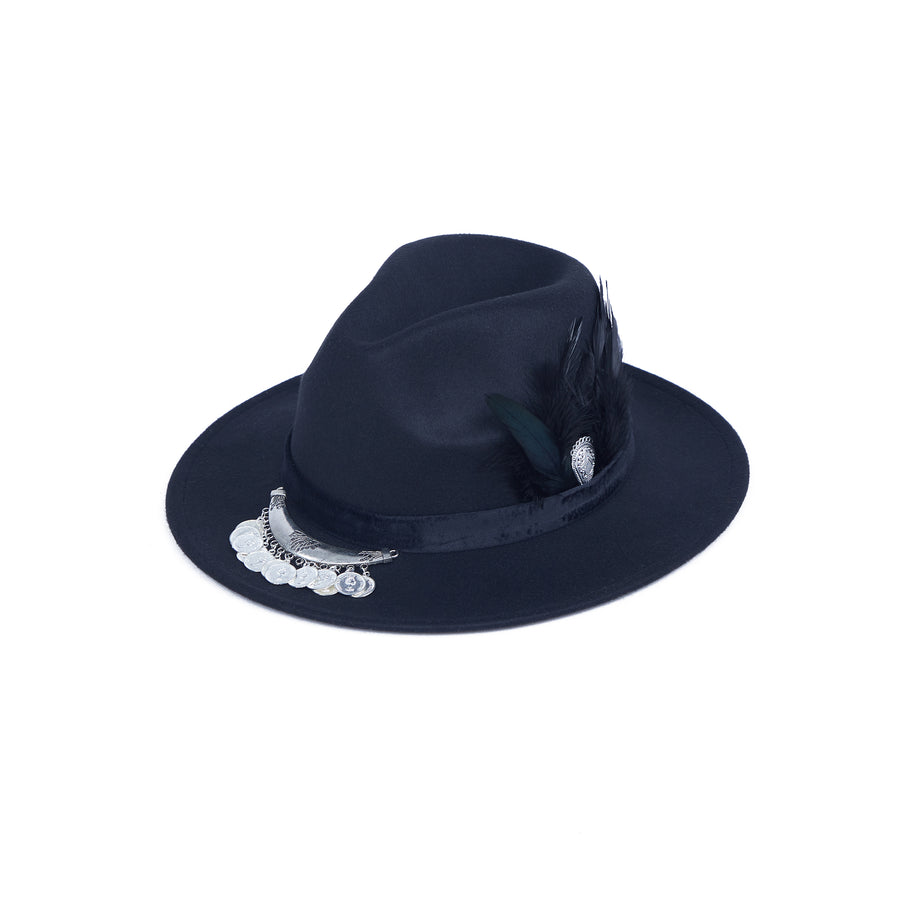 Black Fedora With Coin Strap