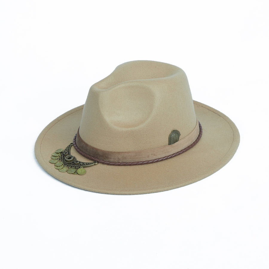 Beige Fedora With Coin Strap