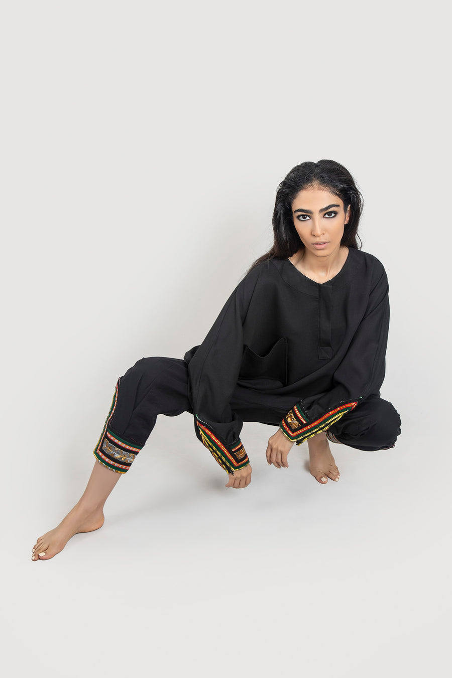 Red And Green Baluchi Ankle Trousers