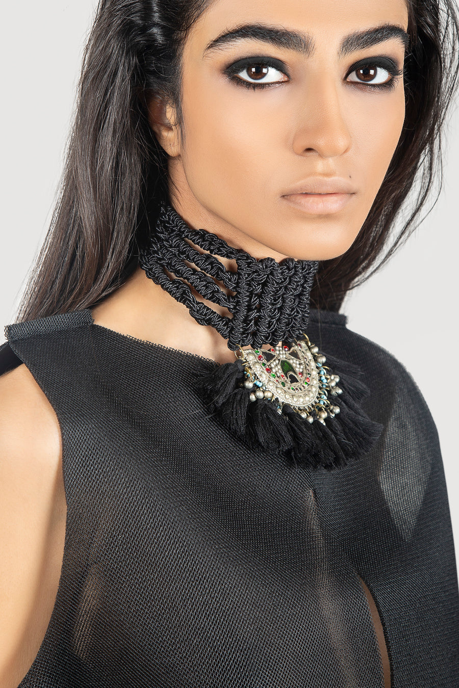 Black HandmadeTapestry Chocker