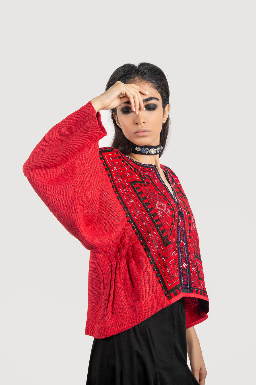 Red Folk Blouse