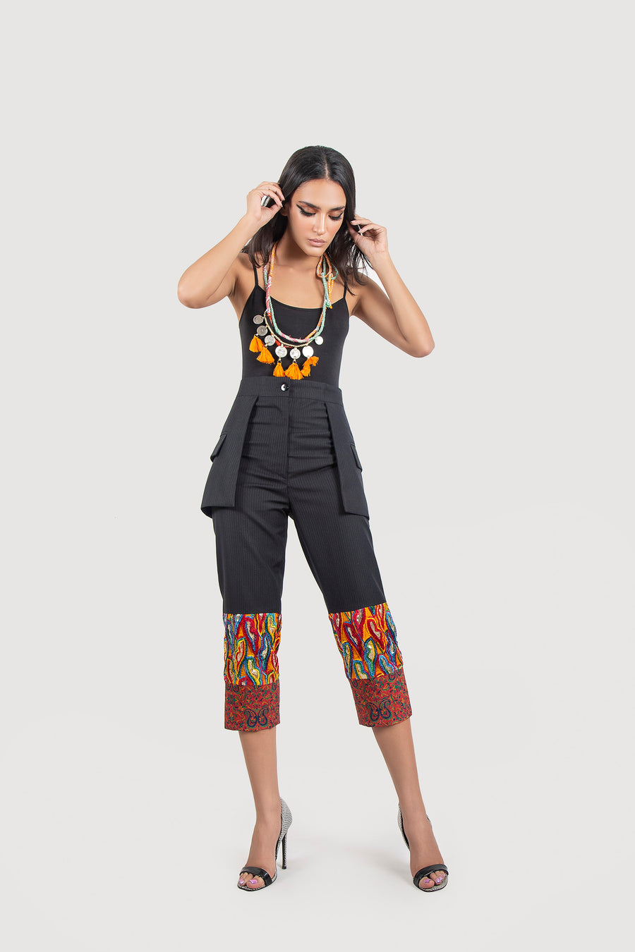 Embroidered Pin Stripe Black Trousers