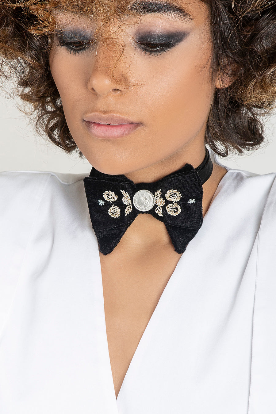 UNISEX Black Sermeh Embroidery Bowtie