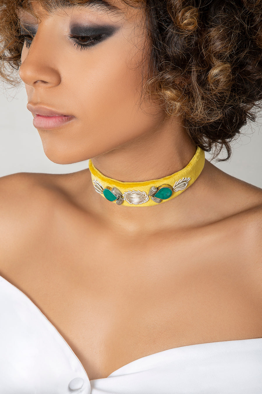 Yellow Sermeh Embroidery Choker/Belt