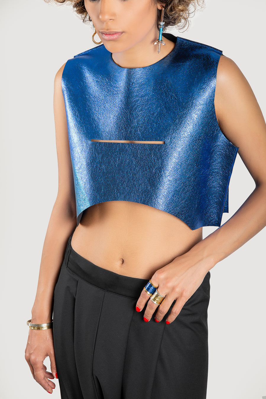 Metallic Blue Top