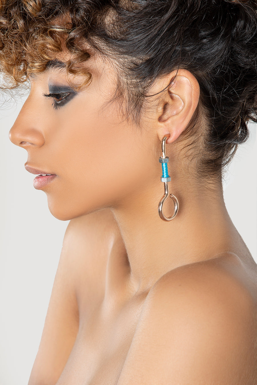 Round Blue Bolt Earrings