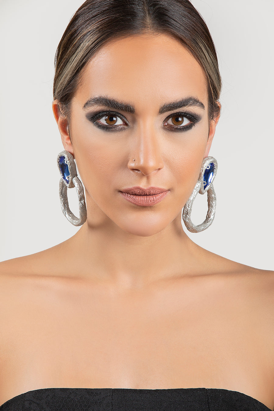 Mahvash Blue Crystal Earrings