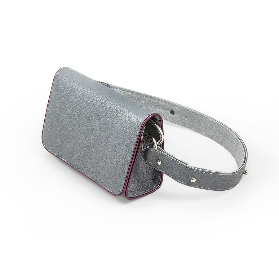 Gray Leather Handbag