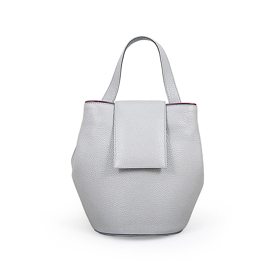 Gray Leather Bucket Handbag