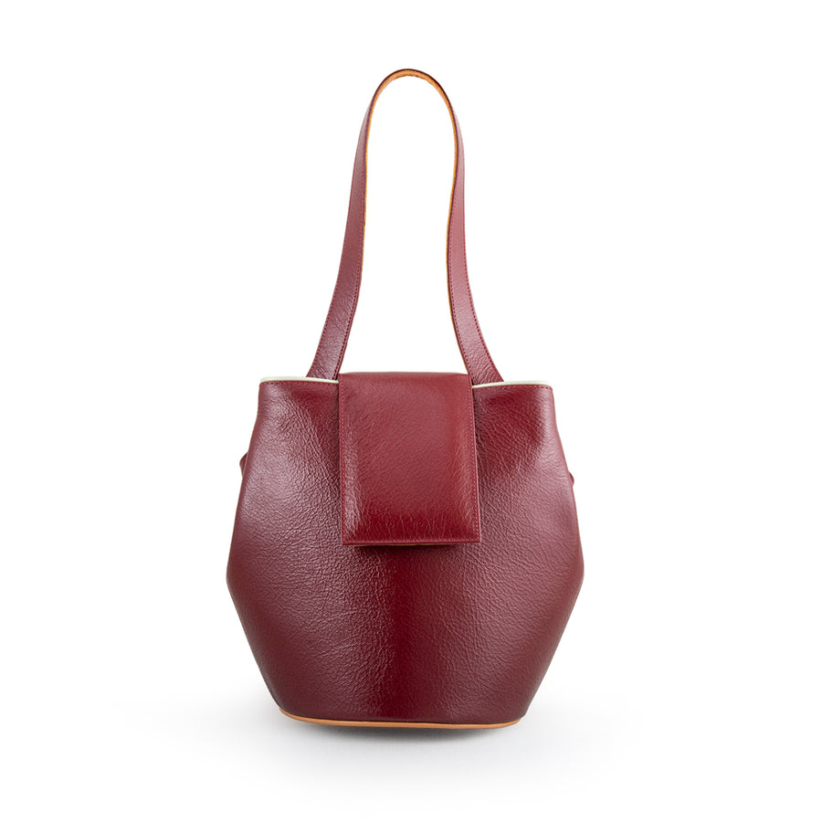 Red Leather Bucket Handbag