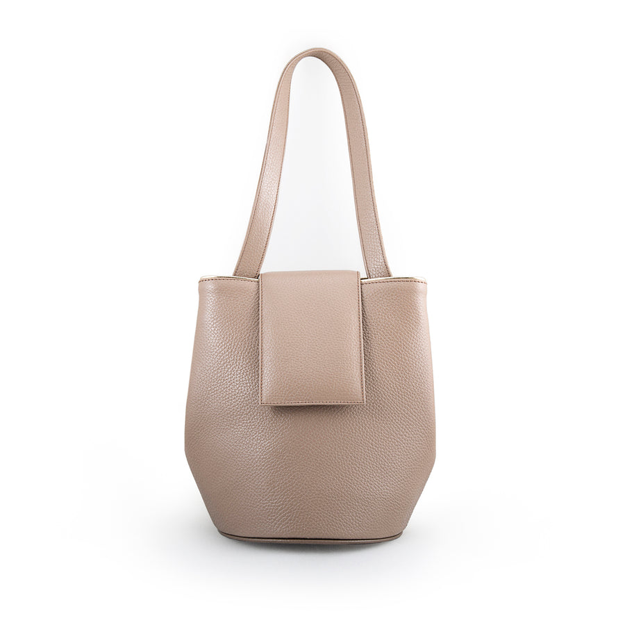 Nude Leather Bucket Handbag