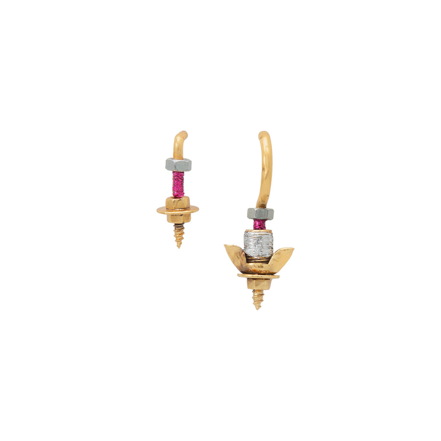 Round Pink And Silver Bolt Earrings