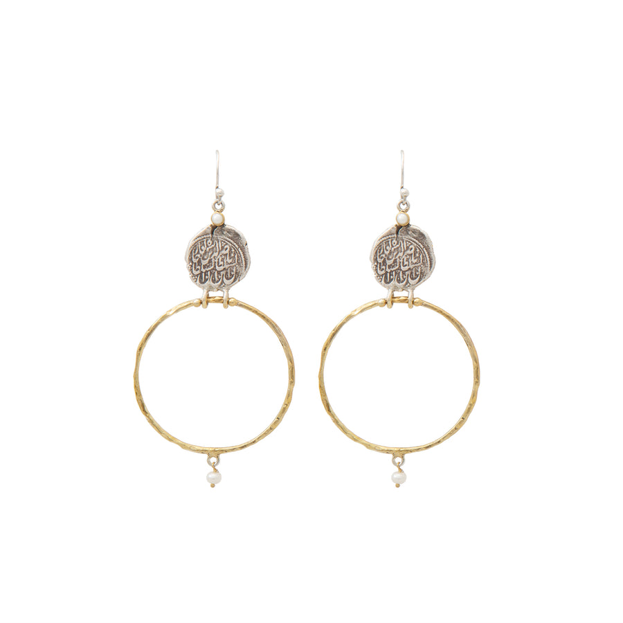 Pearl Coin Hoops
