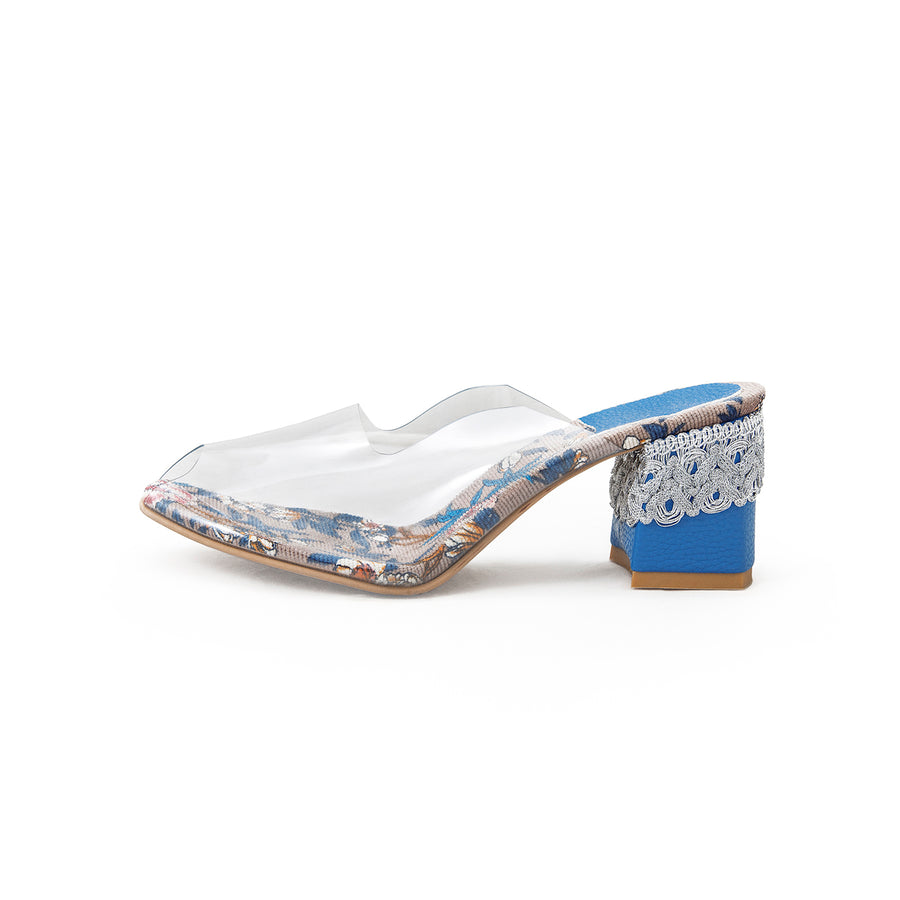 Clear Mule Sermeh Embroidery Heels