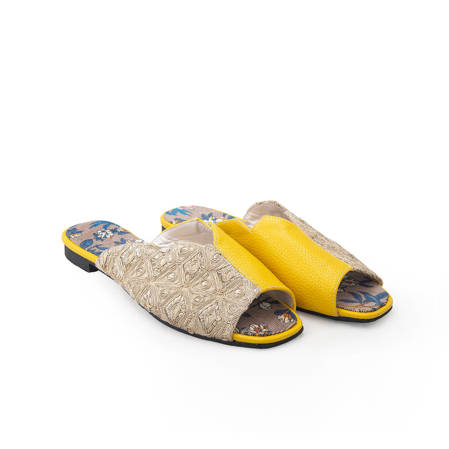 Yellow Sermeh Embroidery Sandals