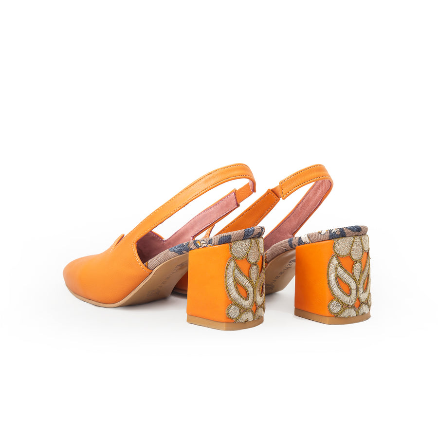 Orange Sermeh Embroidery Heels