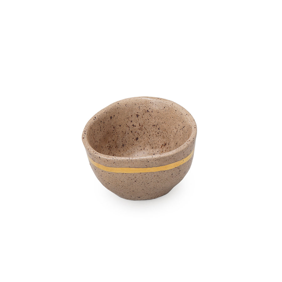 Gold Stripe Mocha Bowl