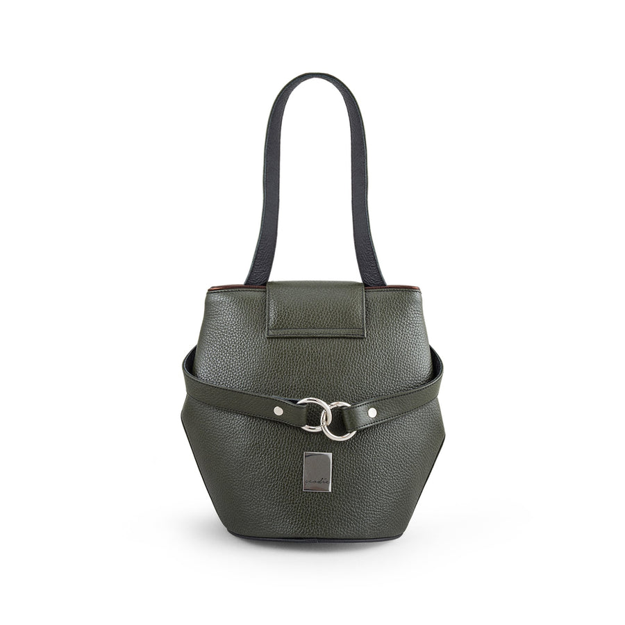 Green Leather Bucket Handbag
