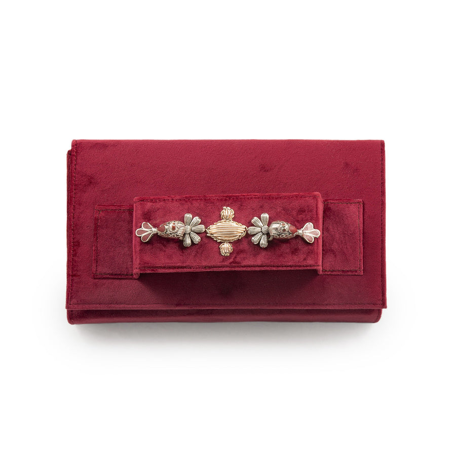 Nightingale Red Velvet Clutch