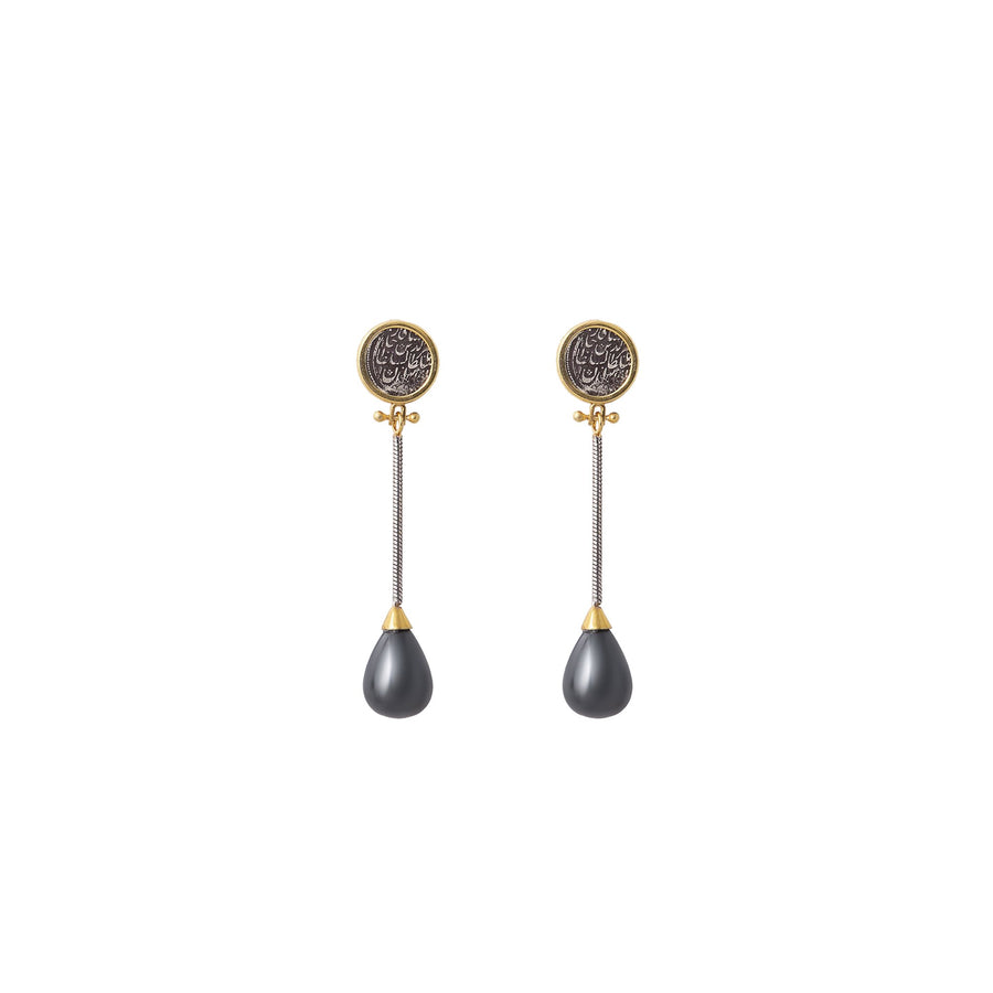 Black Pearl Coin Earrings