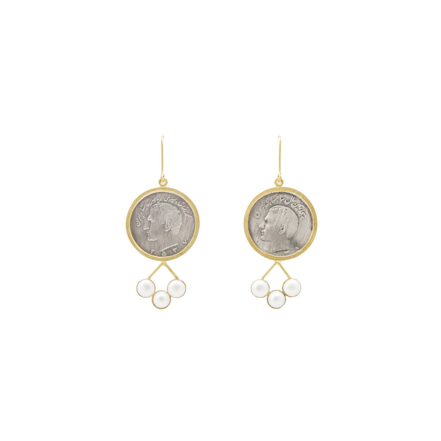 Antique Pahlavi Coin Earrings