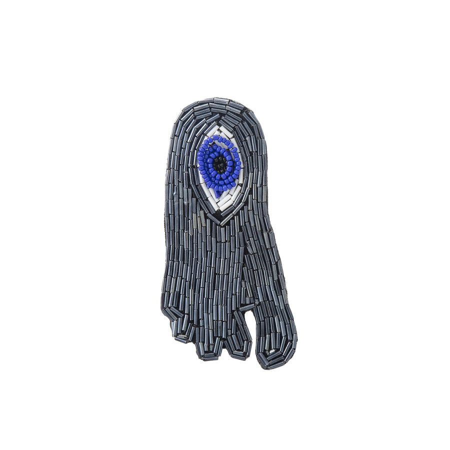 Gray Evil Eye Beaded Foot Brooch