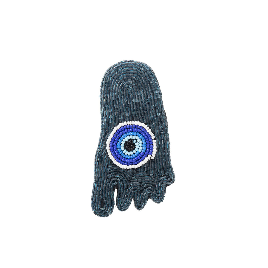 Blue Evil Eye Beaded Foot Brooch