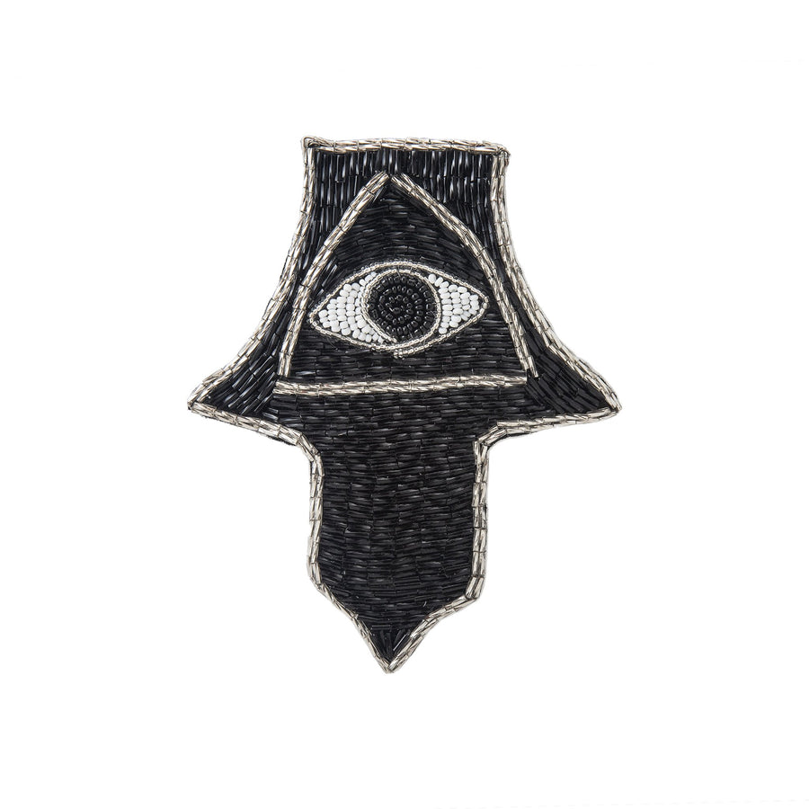 Black Evil Eye Beaded Hand Brooch