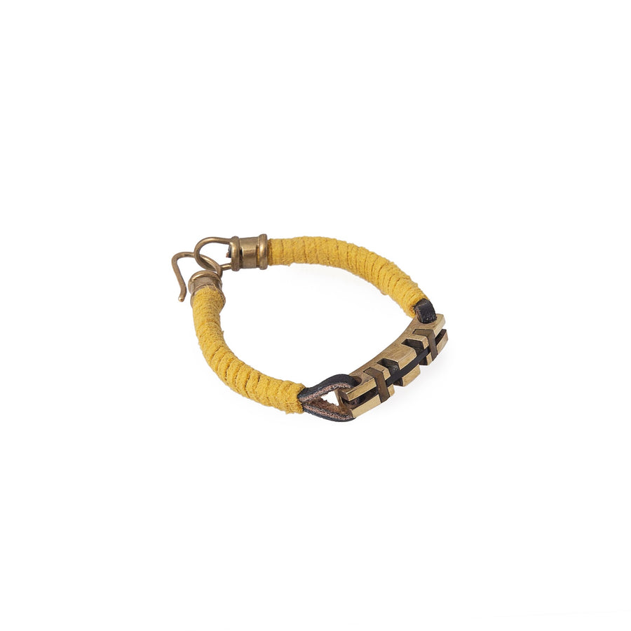 Yellow Leather And Stone Key Bracelets