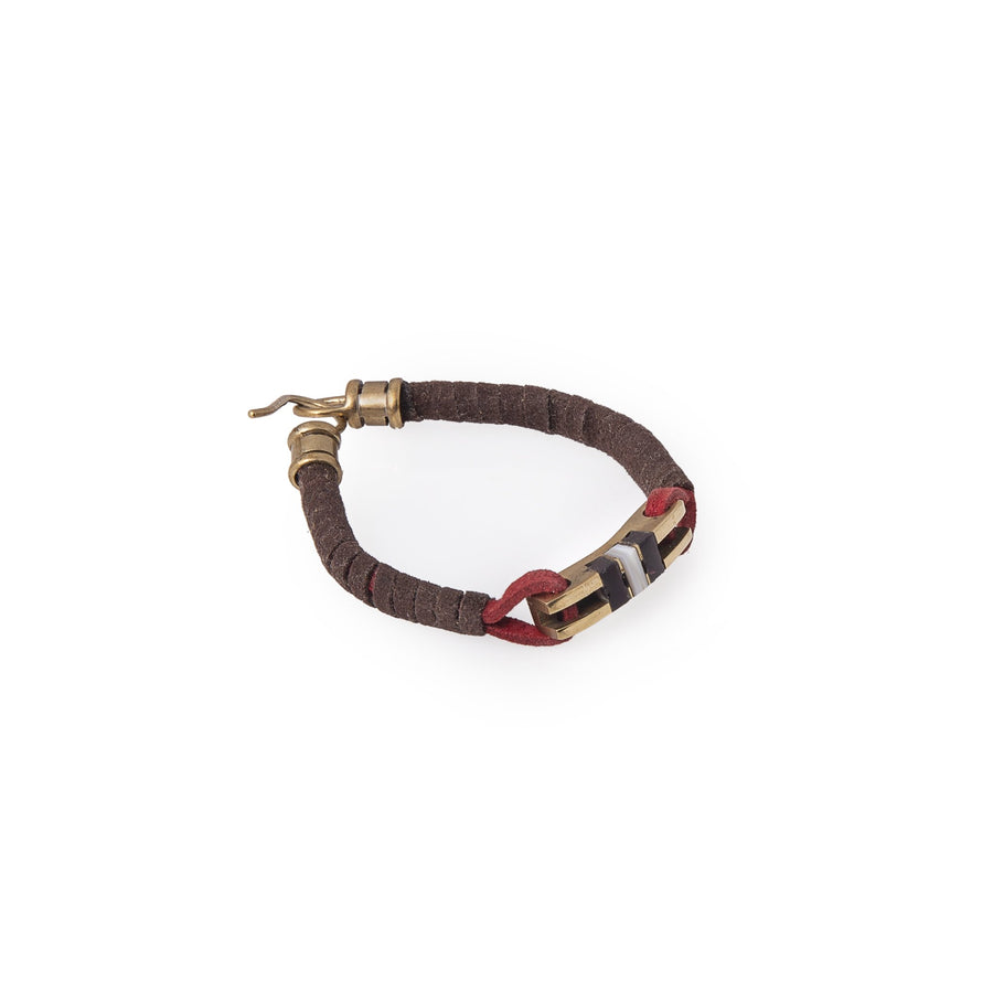 Brown Leather And Stone Key Bracelets