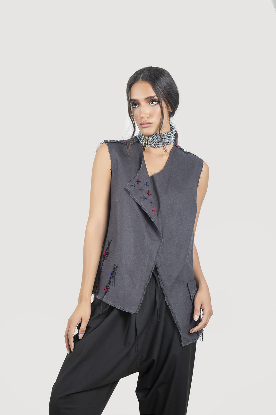Gray Embroidered Vest