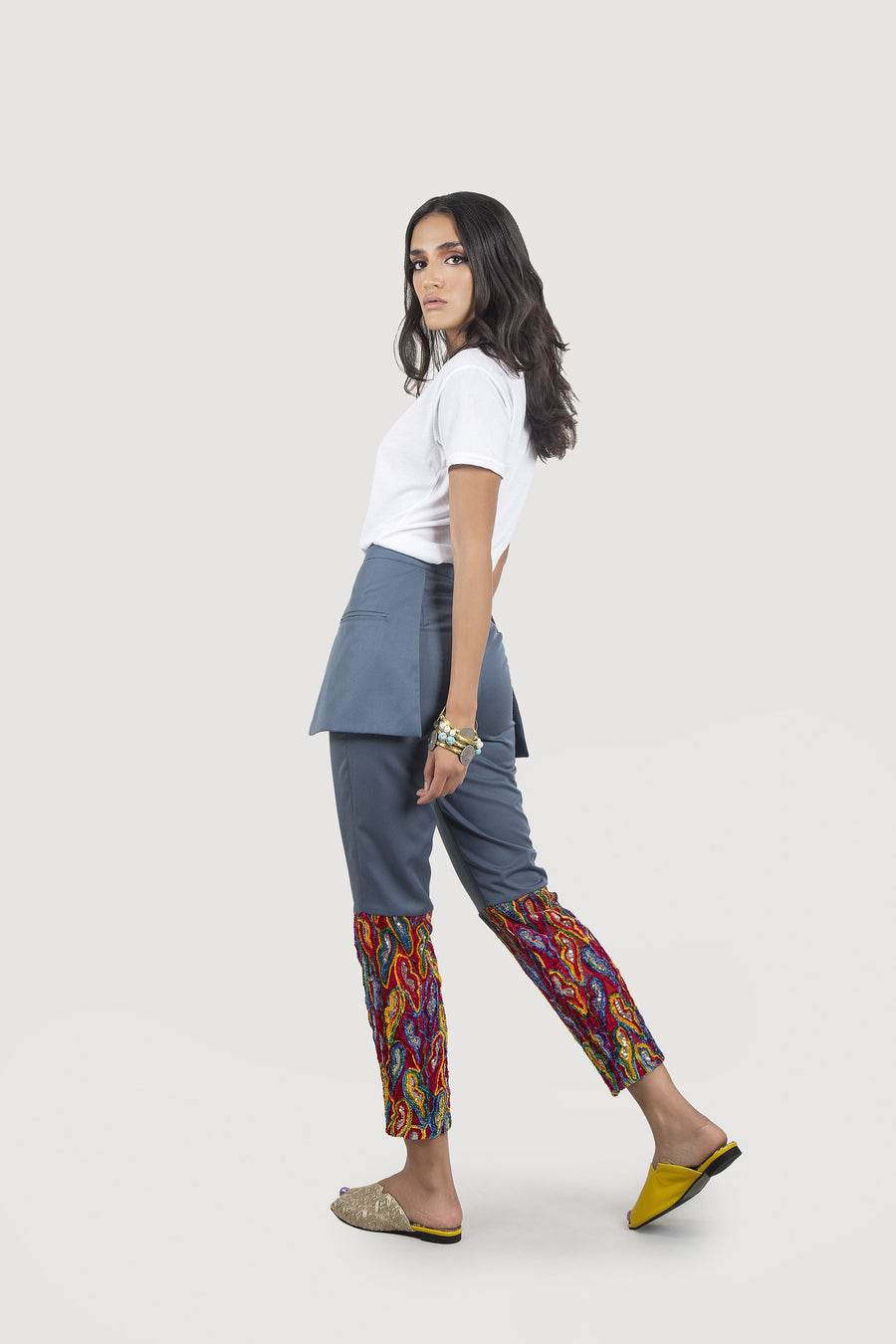 Embroidered Blue Trousers