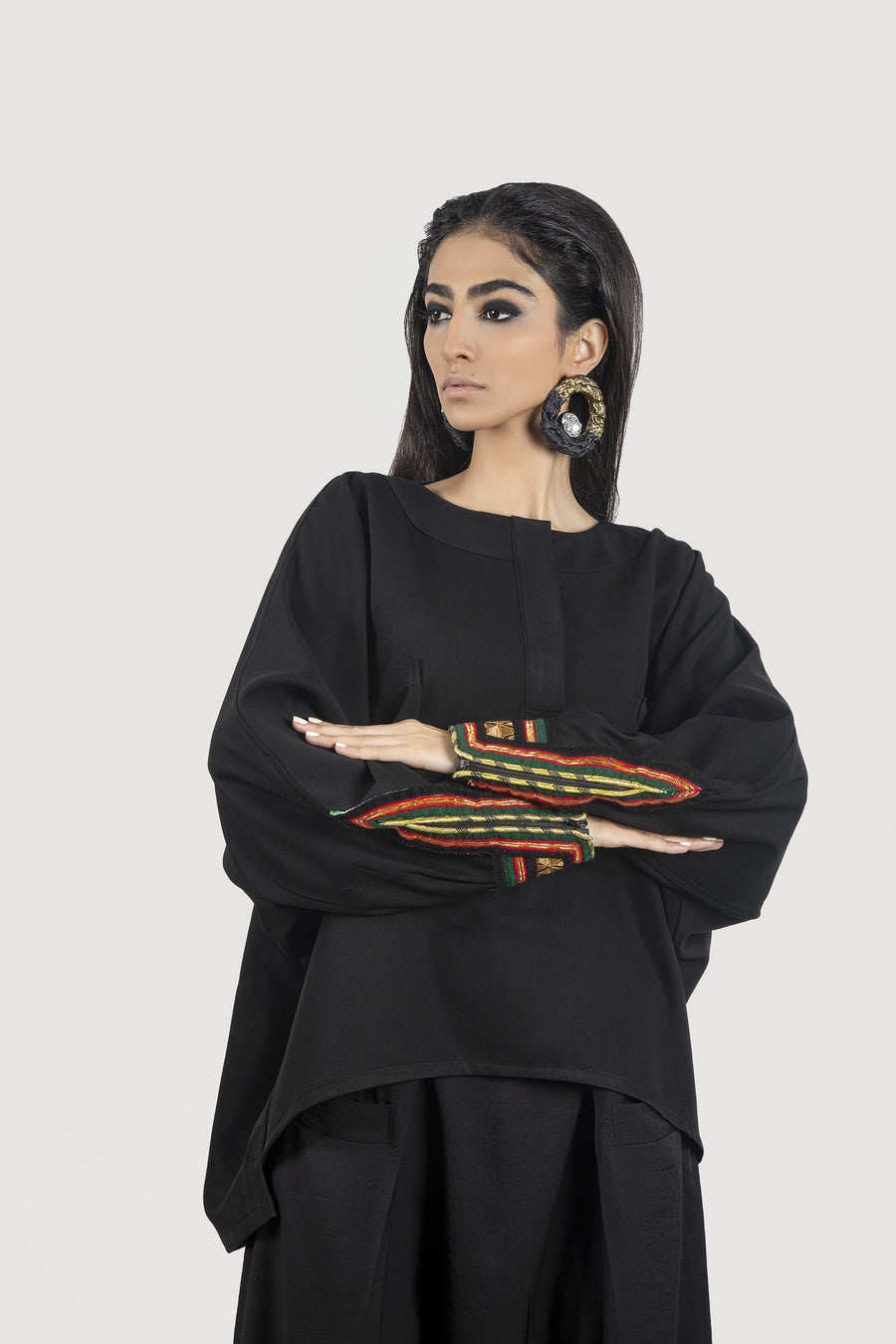 Red And Green Baluchi Sleeve Black Blouse