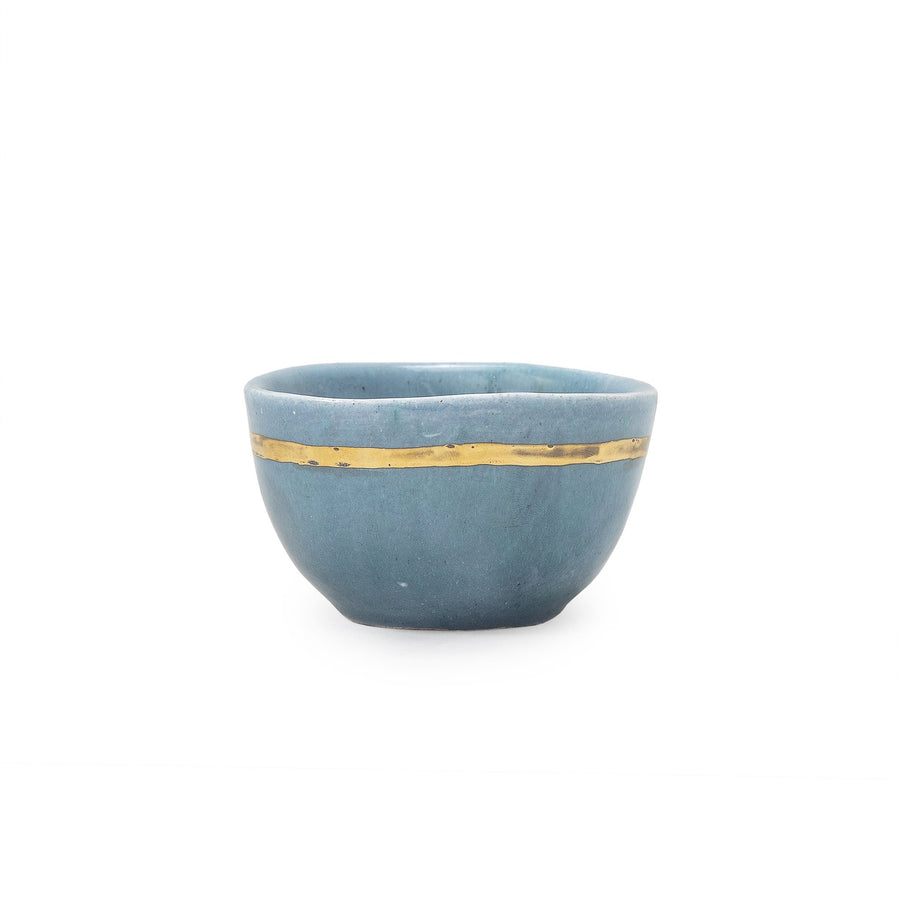 Gold Stripe Blue Lagoon Bowl