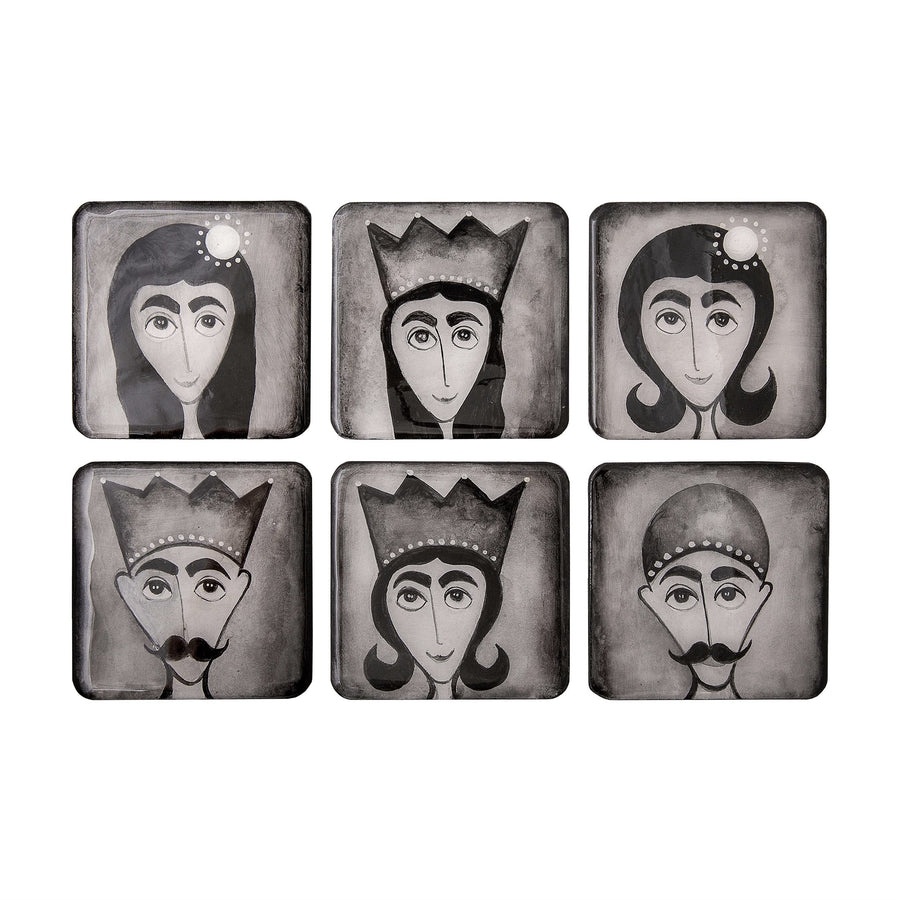 Black & White Hand Painted Coasters(6 pieses)