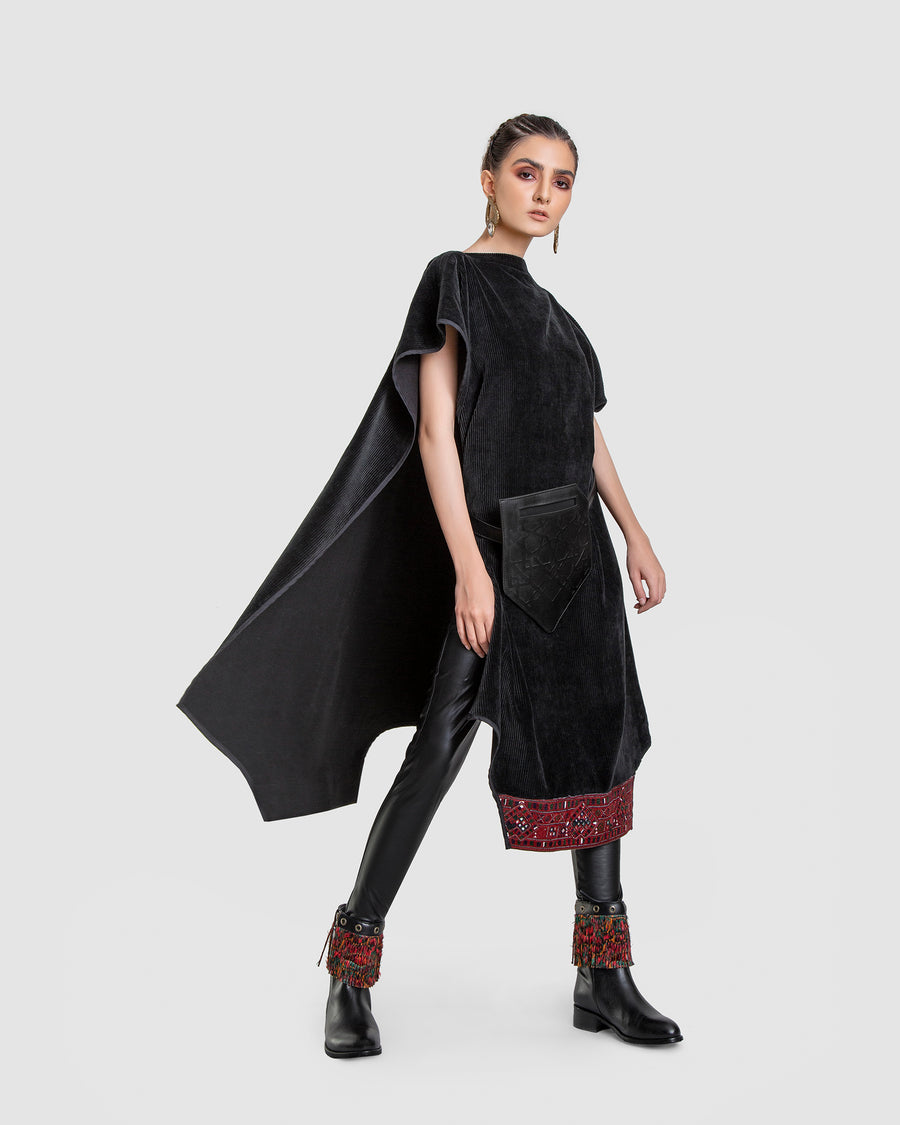 Black Cord Embroidery Multi-Use Poncho