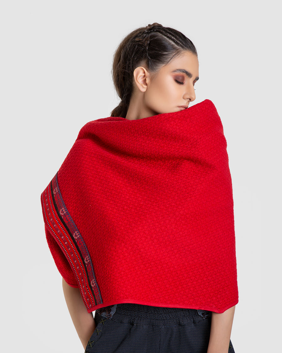 Red Embroidery Multi-Use Poncho
