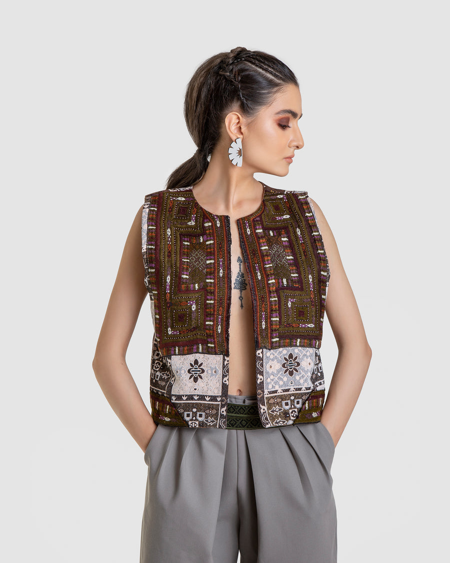 Patchy Green Brocade Vest