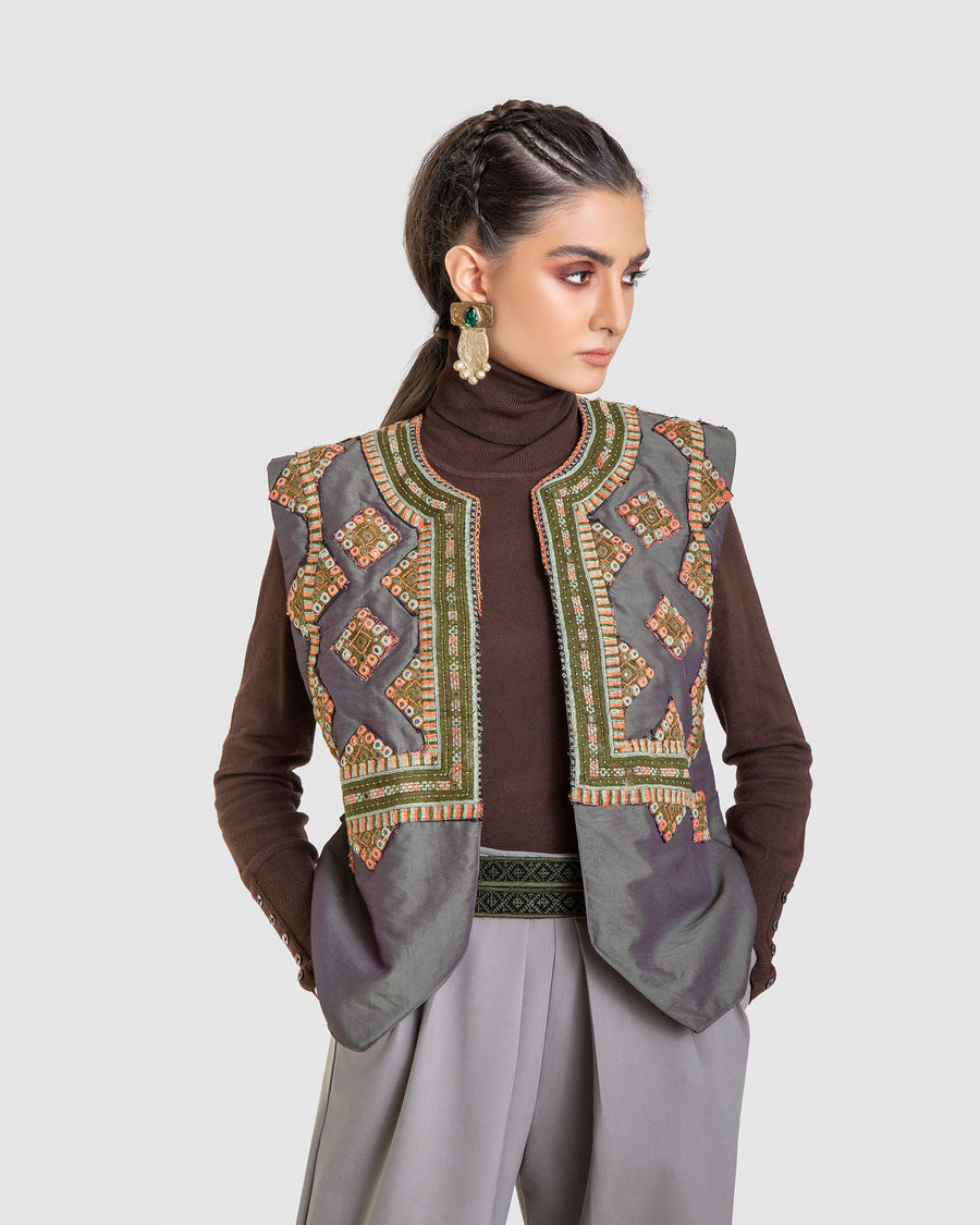 Invertible Embroidered Mirror And Quilt Vest