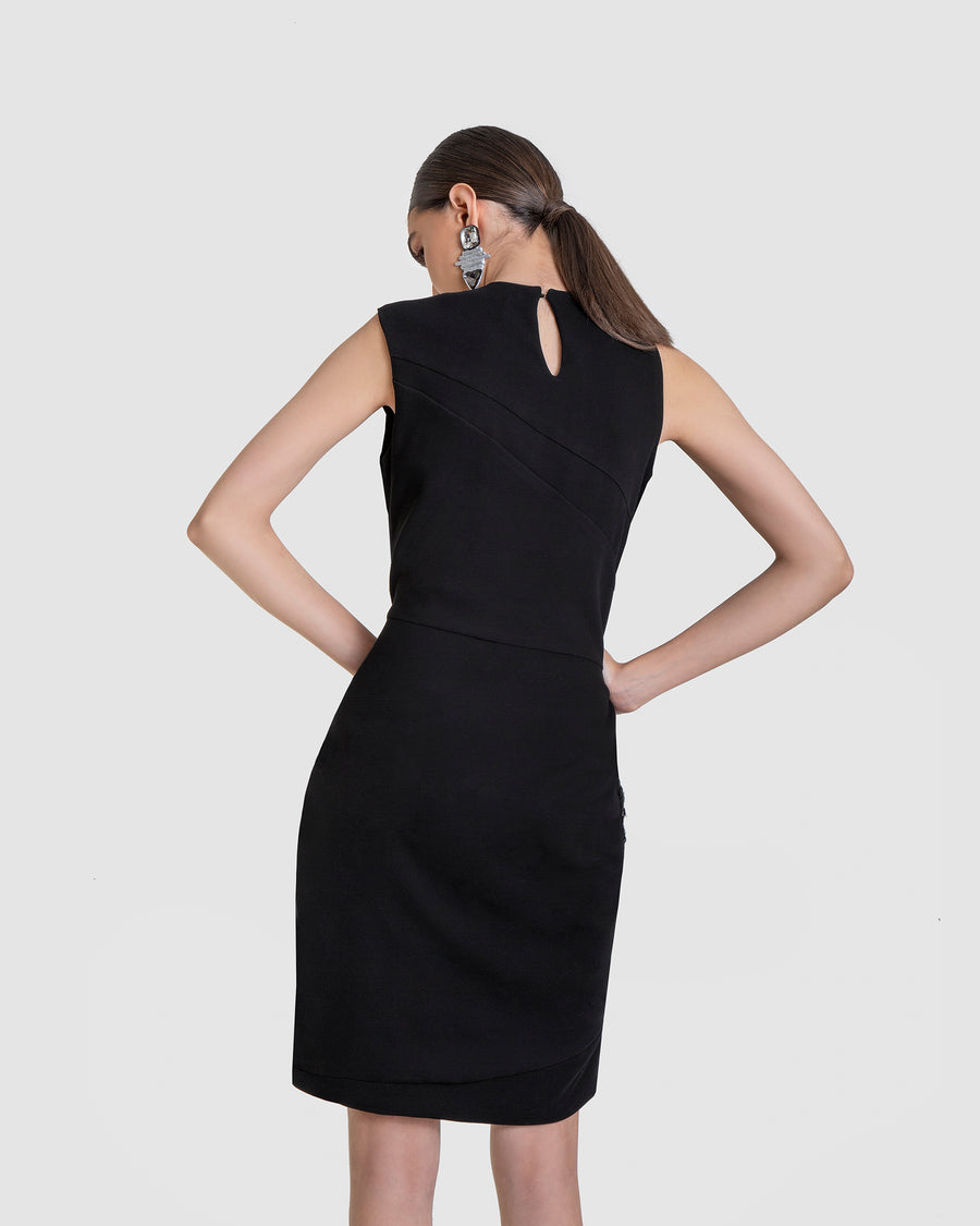 Asymmetrical Wrap Dress Cutout Detail