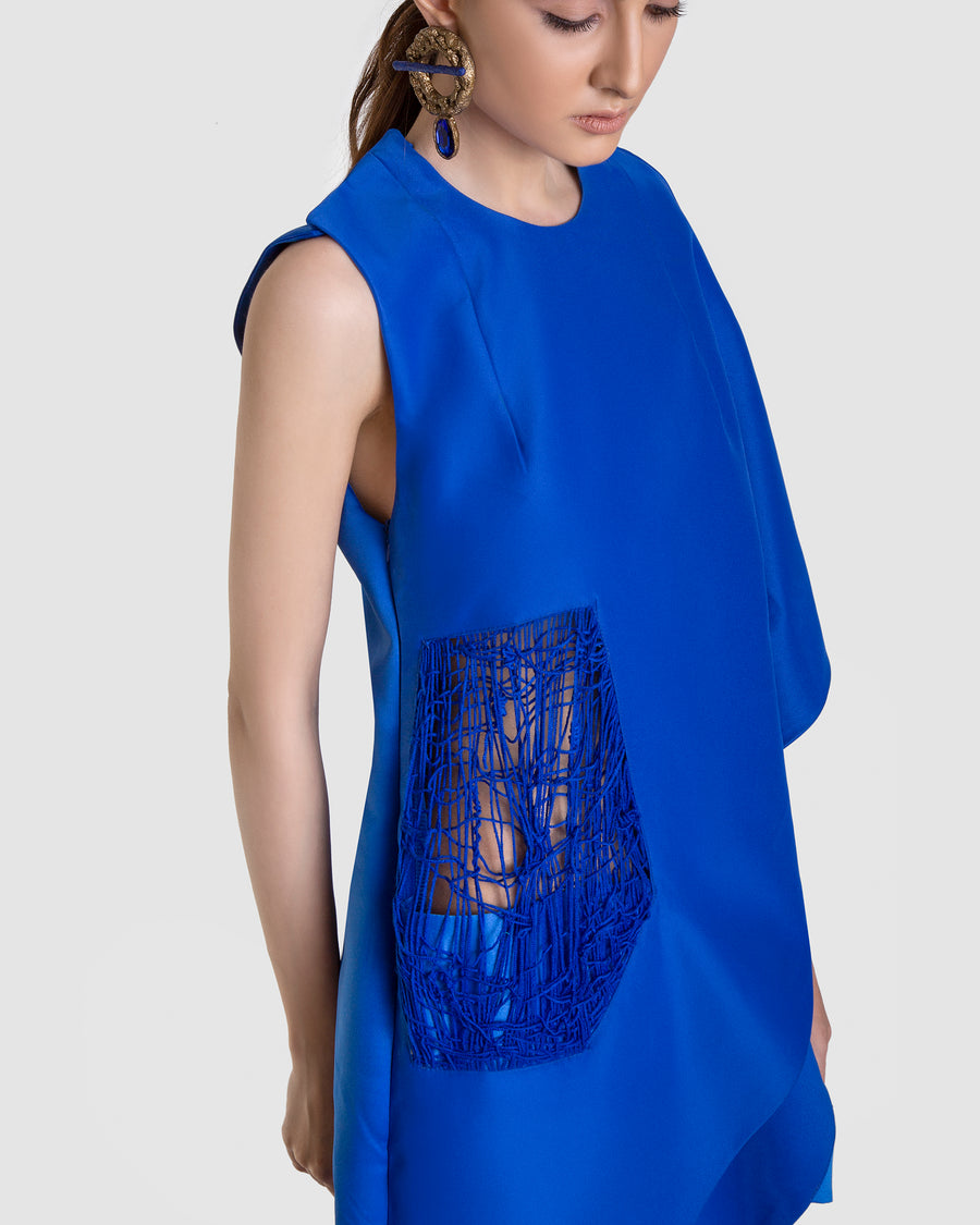 Asymmetrical Cobalt Midi Dress