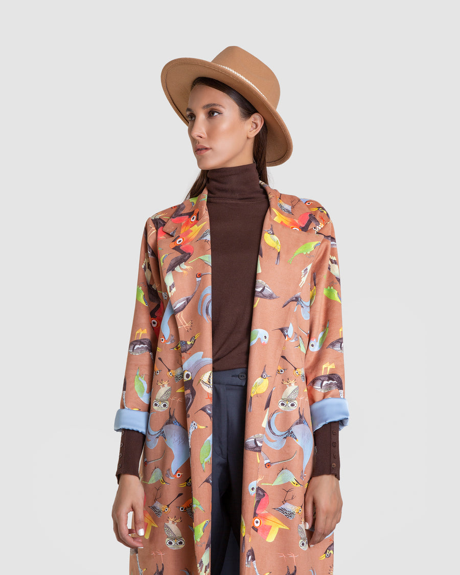 Coral Animal Printed Over Coat