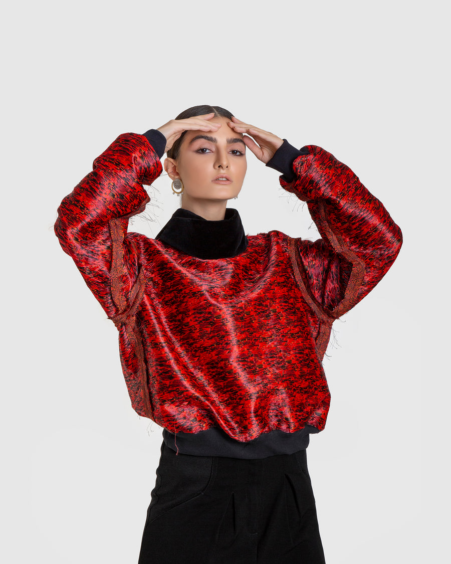 Cowl Neck Inverted Termeh Jumper
